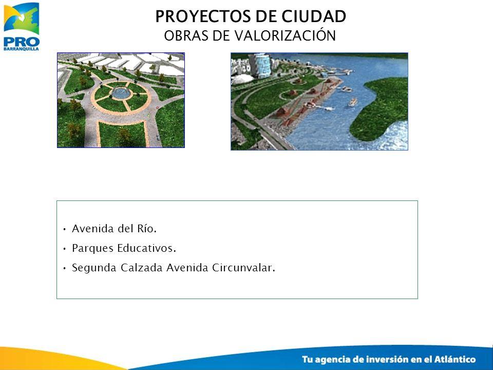 OBRAS DE VALORIZACIÓN Avenida del Río. Parques Educativos. Segunda Calzada Avenida Circunvalar. PROYECTOS DE CIUDAD