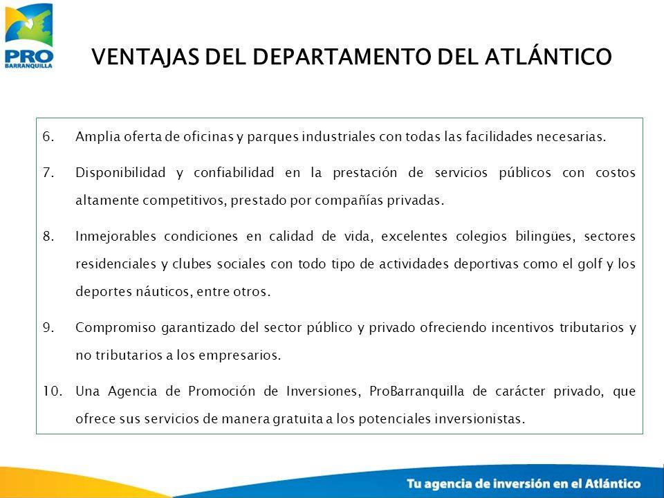 VENTAJAS DEL DEPARTAMENTO DEL ATLÁNTICO 6.Amplia oferta de oficinas y parques industriales con todas las facilidades necesarias. 7.Disponibilidad y co