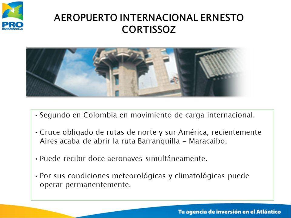 AEROPUERTO INTERNACIONAL ERNESTO CORTISSOZ Segundo en Colombia en movimiento de carga internacional. Cruce obligado de rutas de norte y sur América, r