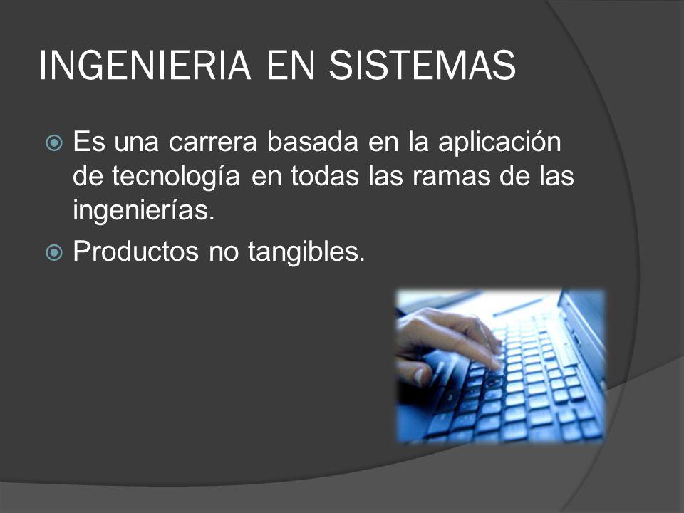 INGENIERIA EN SISTEMAS Es una carrera basada en la aplicación de tecnología en todas las ramas de las ingenierías. Productos no tangibles.