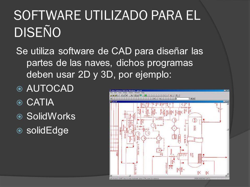 SOFTWARE UTILIZADO PARA EL DISEÑO Se utiliza software de CAD para diseñar las partes de las naves, dichos programas deben usar 2D y 3D, por ejemplo: A