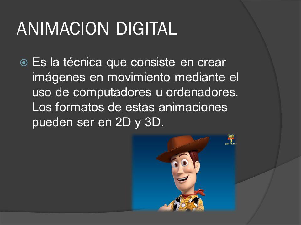 ANIMACION DIGITAL Es la técnica que consiste en crear imágenes en movimiento mediante el uso de computadores u ordenadores. Los formatos de estas anim
