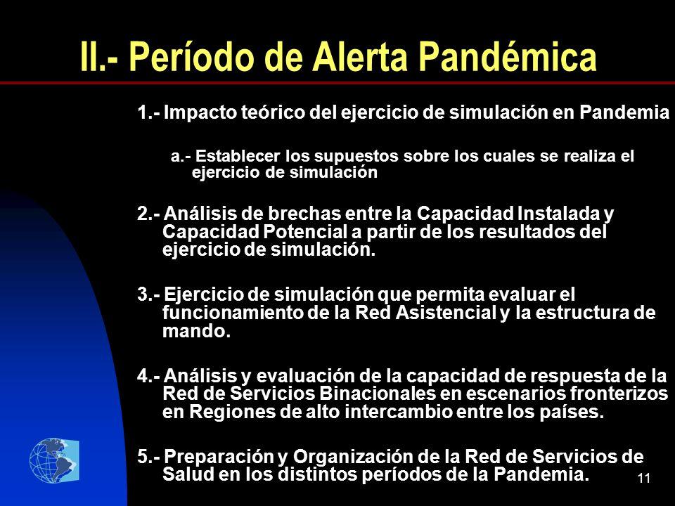 11 II.- Período de Alerta Pandémica 1.- Impacto teórico del ejercicio de simulación en Pandemia a.- Establecer los supuestos sobre los cuales se reali