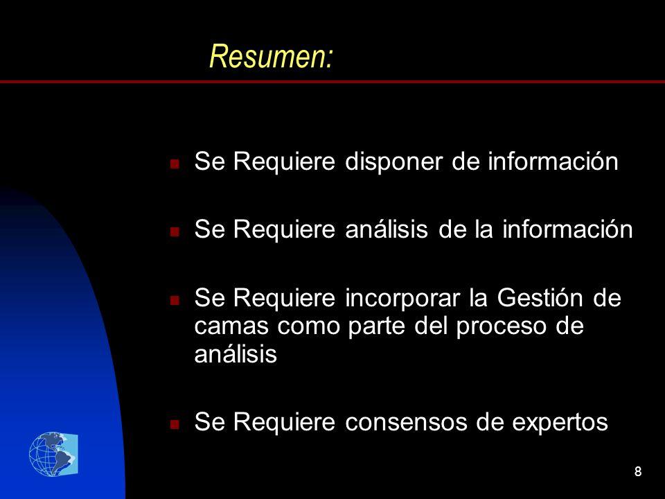 8 Resumen: Se Requiere disponer de información Se Requiere análisis de la información Se Requiere incorporar la Gestión de camas como parte del proces