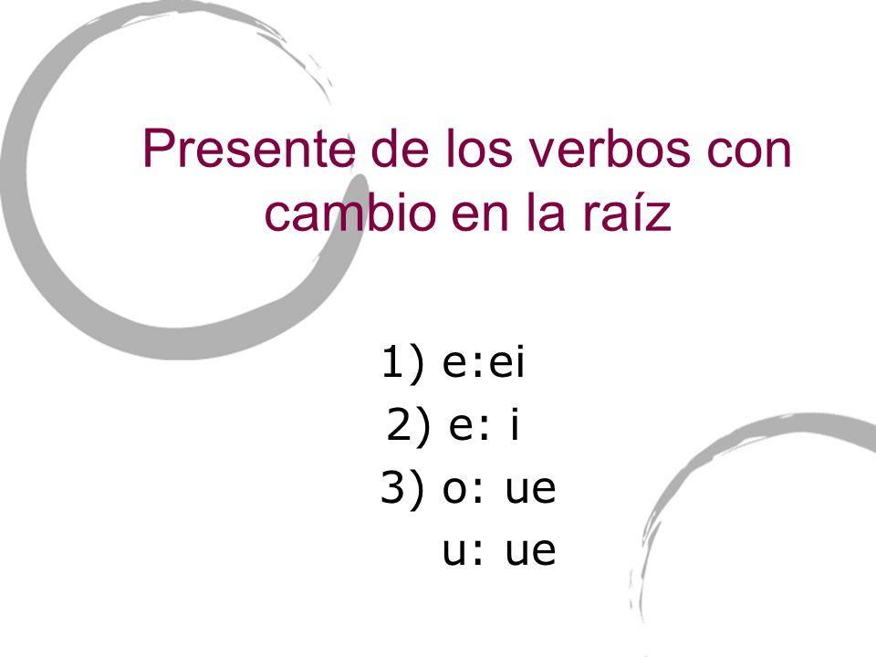 Presente de los verbos con cambio en la raíz 1) e:ei 2) e: i 3) o: ue u: ue