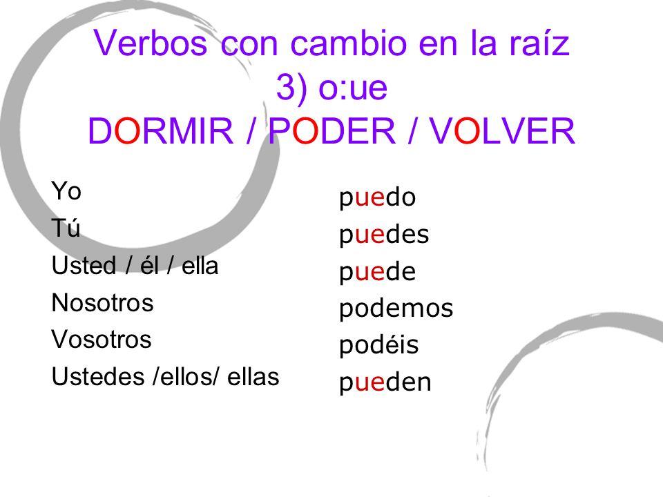 Verbos con cambio en la raíz 3) o:ue DORMIR / PODER / VOLVER Yo TúTú Usted / él / ella Nosotros Vosotros Ustedes /ellos/ ellas puedo puedes puede pode