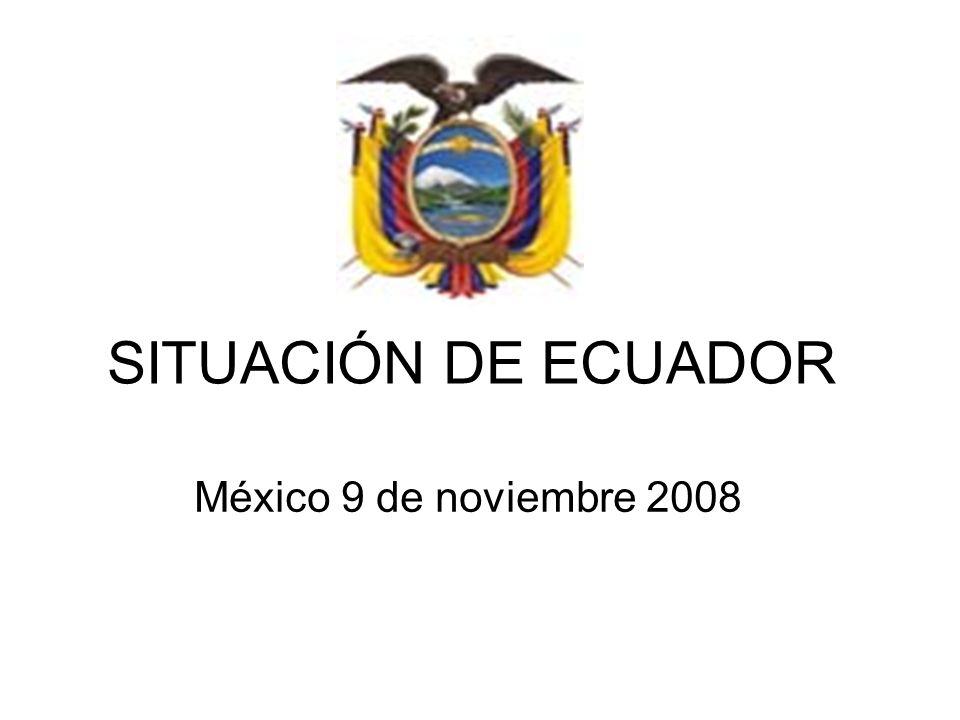 SITUACIÓN DE ECUADOR México 9 de noviembre 2008