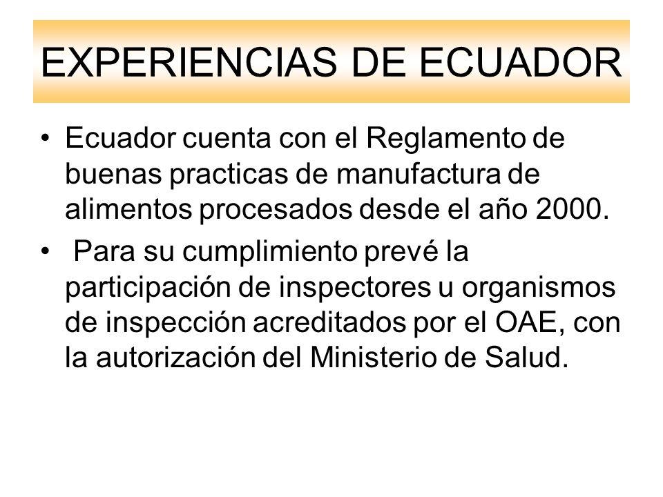 EXPERIENCIAS DE ECUADOR Ecuador cuenta con el Reglamento de buenas practicas de manufactura de alimentos procesados desde el año 2000.