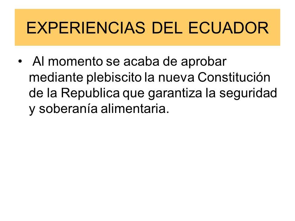 EXPERIENCIAS DEL ECUADOR Al momento se acaba de aprobar mediante plebiscito la nueva Constitución de la Republica que garantiza la seguridad y soberanía alimentaria.
