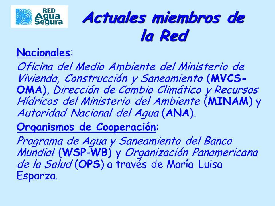 Actuales miembros de la Red Nacionales: Oficina del Medio Ambiente del Ministerio de Vivienda, Construcción y Saneamiento (MVCS- OMA), Dirección de Cambio Climático y Recursos Hídricos del Ministerio del Ambiente (MINAM) y Autoridad Nacional del Agua (ANA).