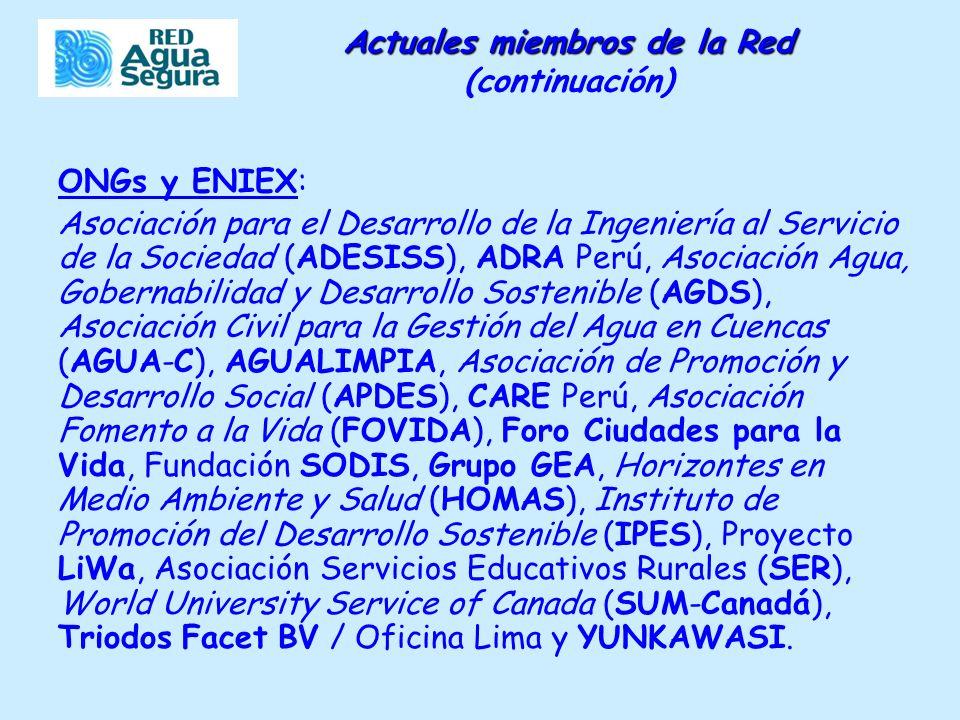 Actuales miembros de la Red Actuales miembros de la Red (continuación) ONGs y ENIEX: Asociación para el Desarrollo de la Ingeniería al Servicio de la Sociedad (ADESISS), ADRA Perú, Asociación Agua, Gobernabilidad y Desarrollo Sostenible (AGDS), Asociación Civil para la Gestión del Agua en Cuencas (AGUA-C), AGUALIMPIA, Asociación de Promoción y Desarrollo Social (APDES), CARE Perú, Asociación Fomento a la Vida (FOVIDA), Foro Ciudades para la Vida, Fundación SODIS, Grupo GEA, Horizontes en Medio Ambiente y Salud (HOMAS), Instituto de Promoción del Desarrollo Sostenible (IPES), Proyecto LiWa, Asociación Servicios Educativos Rurales (SER), World University Service of Canada (SUM-Canadá), Triodos Facet BV / Oficina Lima y YUNKAWASI.