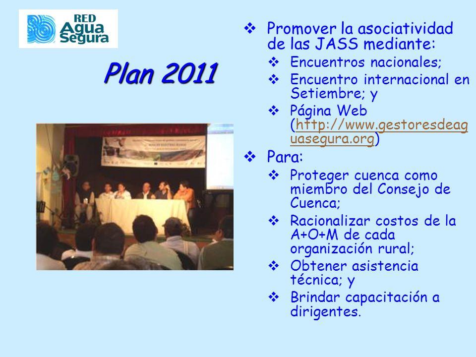 Plan 2011 Promover la asociatividad de las JASS mediante: Encuentros nacionales; Encuentro internacional en Setiembre; y Página Web (http://www.gestoresdeag uasegura.org)http://www.gestoresdeag uasegura.org Para: Proteger cuenca como miembro del Consejo de Cuenca; Racionalizar costos de la A+O+M de cada organización rural; Obtener asistencia técnica; y Brindar capacitación a dirigentes.