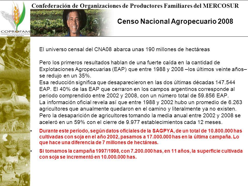Confederación de Organizaciones de Productores Familiares del MERCOSUR Censo Nacional Agropecuario 2008 El universo censal del CNA08 abarca unas 190 m
