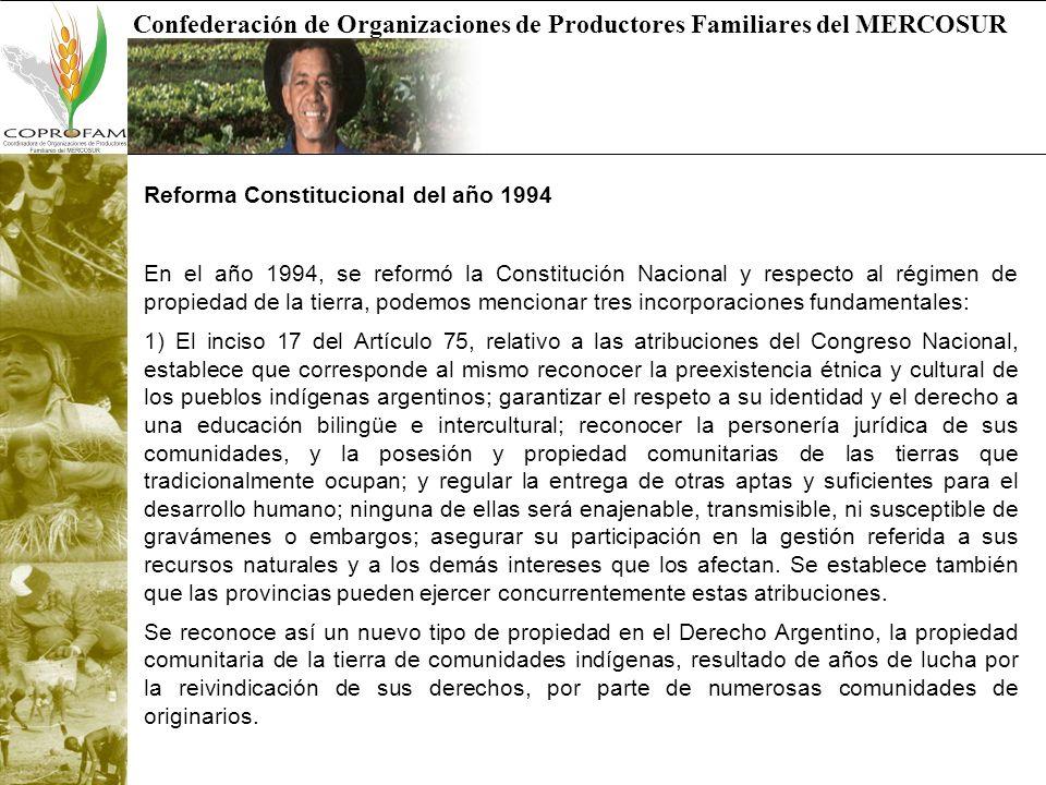 Confederación de Organizaciones de Productores Familiares del MERCOSUR Reforma Constitucional del año 1994 En el año 1994, se reformó la Constitución