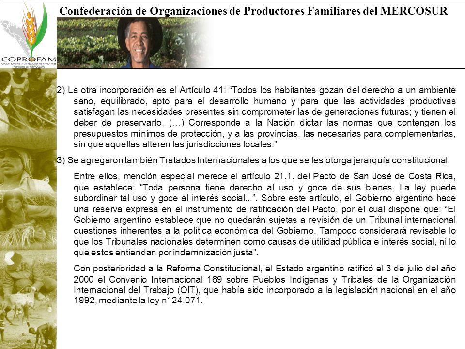 Confederación de Organizaciones de Productores Familiares del MERCOSUR 2) La otra incorporación es el Artículo 41: Todos los habitantes gozan del dere