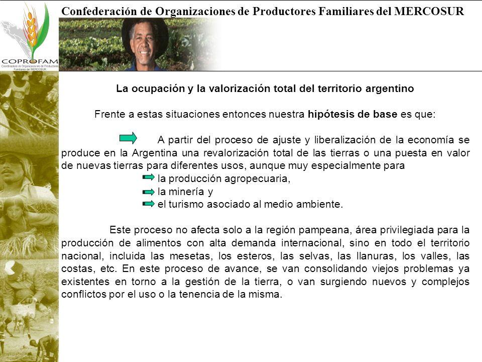 Confederación de Organizaciones de Productores Familiares del MERCOSUR La ocupación y la valorización total del territorio argentino Frente a estas si