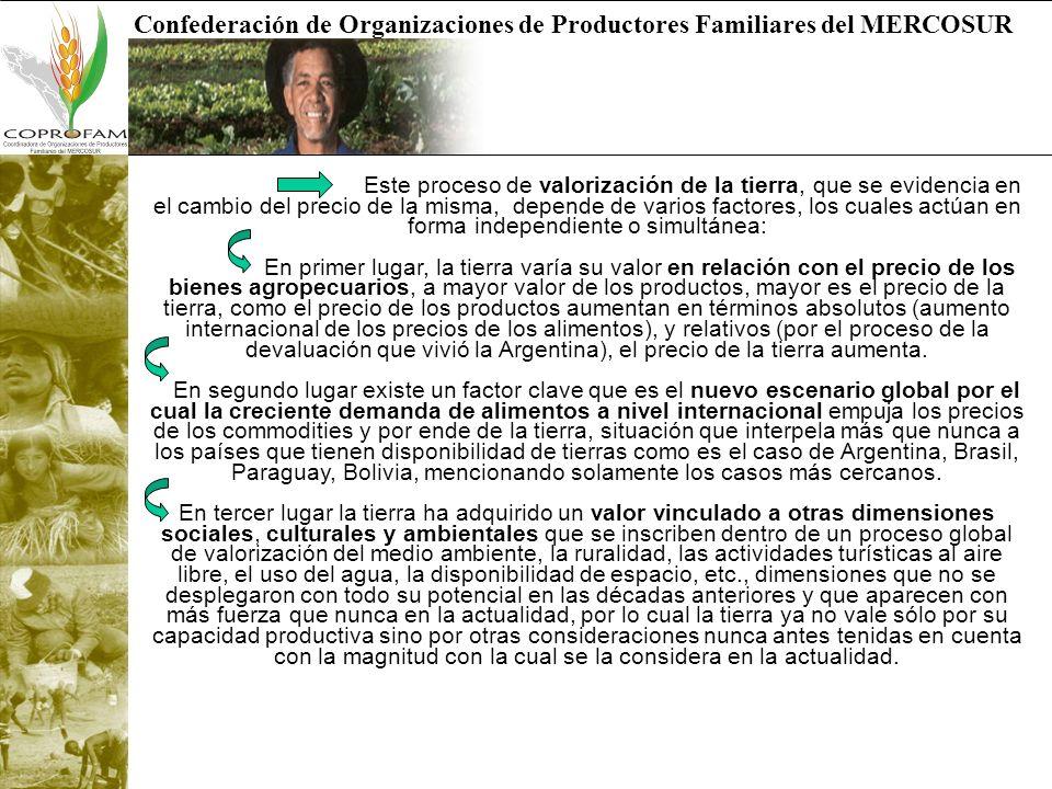 Confederación de Organizaciones de Productores Familiares del MERCOSUR Este proceso de valorización de la tierra, que se evidencia en el cambio del pr