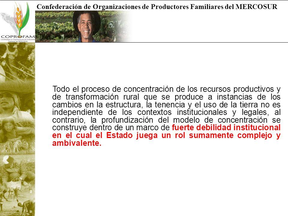 Confederación de Organizaciones de Productores Familiares del MERCOSUR Estructura agraria de la Argentina Desde el punto de vista de la estructura agraria y si tomamos el agregado general del país, tal como lo muestra el gráfico… la distribución de la tierra es inequitativa en términos generales, así, el 2% de las explotaciones agropecuarias controlan el 50% de la tierra en el país, en tanto que el 57 de las explotaciones agropecuarias controlan el 3% de la tierra.