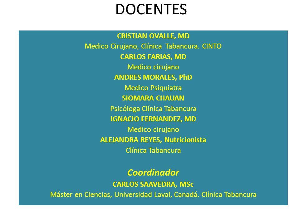 DOCENTES CRISTIAN OVALLE, MD Medico Cirujano, Clínica Tabancura. CINTO CARLOS FARIAS, MD Medico cirujano ANDRES MORALES, PhD Medico Psiquiatra SIOMARA