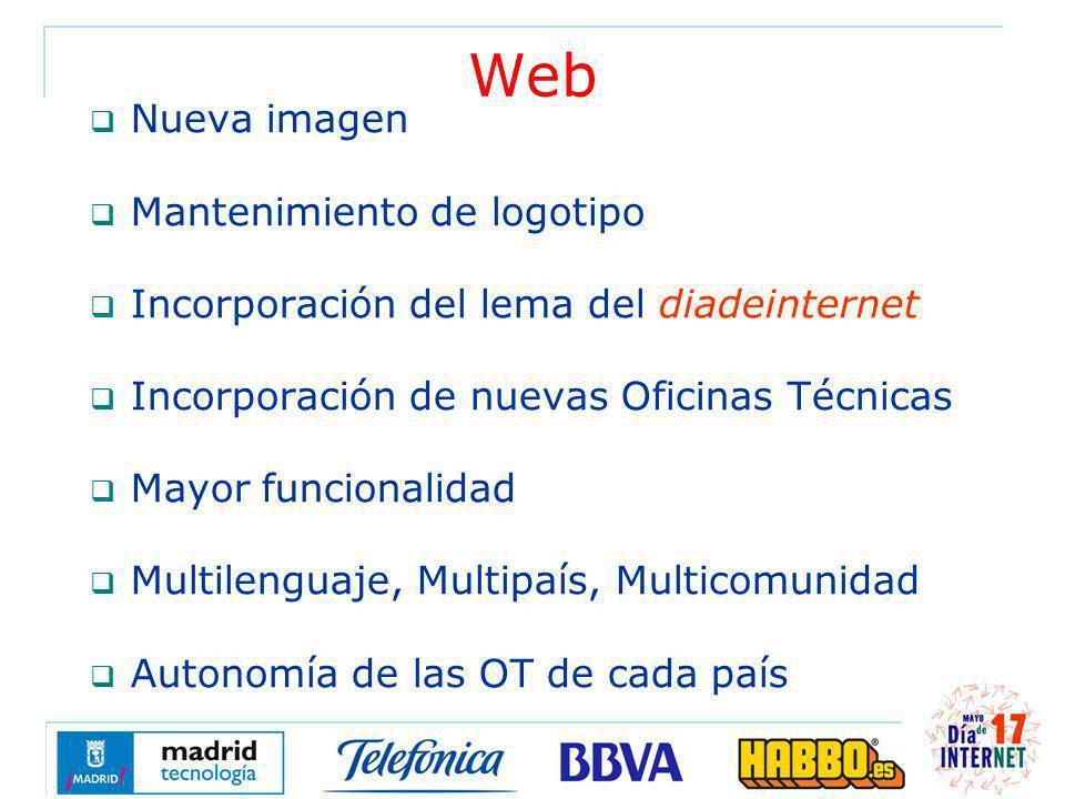 Web Nueva imagen Mantenimiento de logotipo Incorporación del lema del diadeinternet Incorporación de nuevas Oficinas Técnicas Mayor funcionalidad Multilenguaje, Multipaís, Multicomunidad Autonomía de las OT de cada país