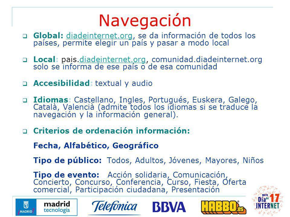 Navegación Global: diadeinternet.org, se da información de todos los países, permite elegir un país y pasar a modo localdiadeinternet.org Local: pais.