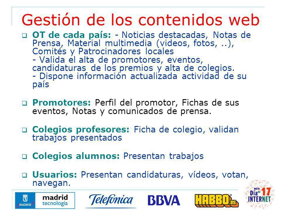 Gestión de los contenidos web OT de cada país: - Noticias destacadas, Notas de Prensa, Material multimedia (videos, fotos,..), Comités y Patrocinadore