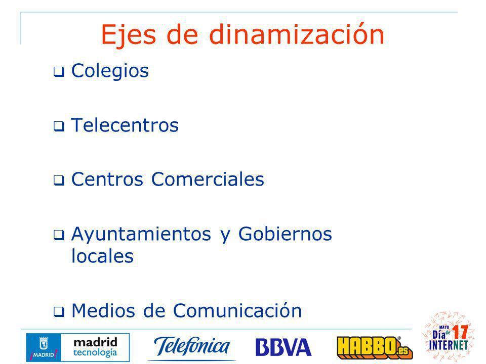 Ejes de dinamización Colegios Telecentros Centros Comerciales Ayuntamientos y Gobiernos locales Medios de Comunicación