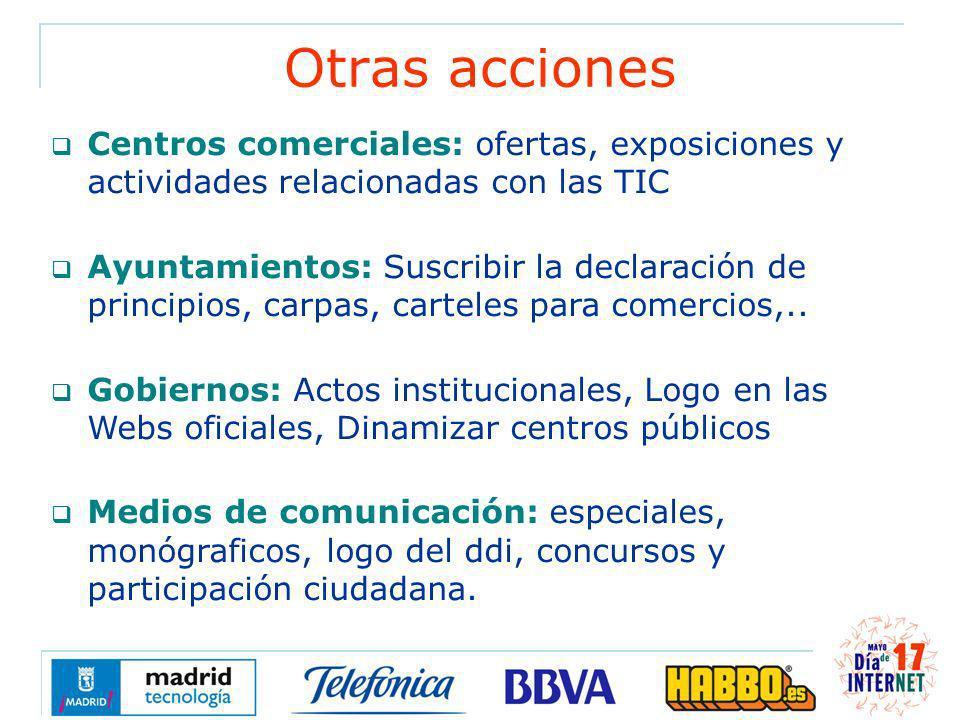 Otras acciones Centros comerciales: ofertas, exposiciones y actividades relacionadas con las TIC Ayuntamientos: Suscribir la declaración de principios, carpas, carteles para comercios,..