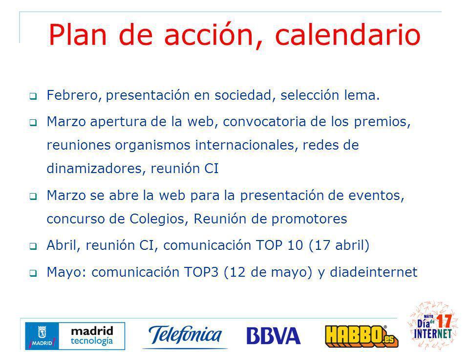 Plan de acción, calendario Febrero, presentación en sociedad, selección lema. Marzo apertura de la web, convocatoria de los premios, reuniones organis