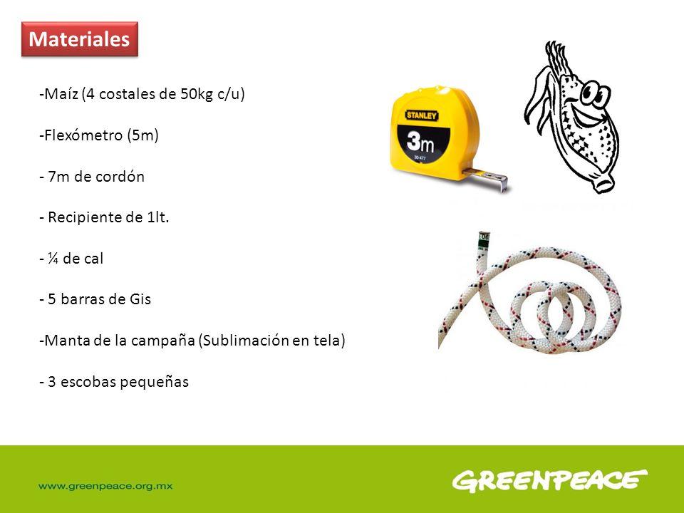Materiales -Maíz (4 costales de 50kg c/u) -Flexómetro (5m) - 7m de cordón - Recipiente de 1lt. - ¼ de cal - 5 barras de Gis -Manta de la campaña (Subl