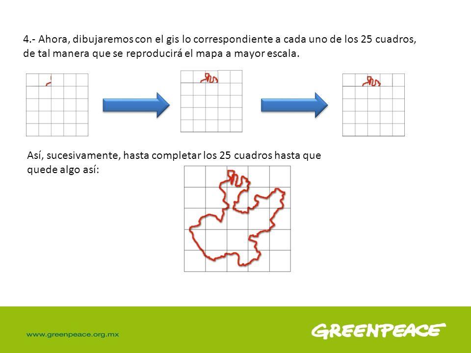 4.- Ahora, dibujaremos con el gis lo correspondiente a cada uno de los 25 cuadros, de tal manera que se reproducirá el mapa a mayor escala. Así, suces