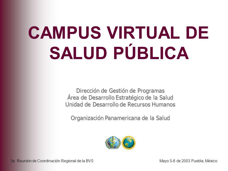 CAMPUS VIRTUAL DE SALUD PÚBLICA Dirección de Gestión de Programas Área de Desarrollo Estratégico de la Salud Unidad de Desarrollo de Recursos Humanos
