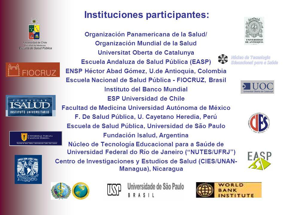 Organización Panamericana de la Salud/ Organización Mundial de la Salud Universitat Oberta de Catalunya Escuela Andaluza de Salud Pública (EASP) ENSP