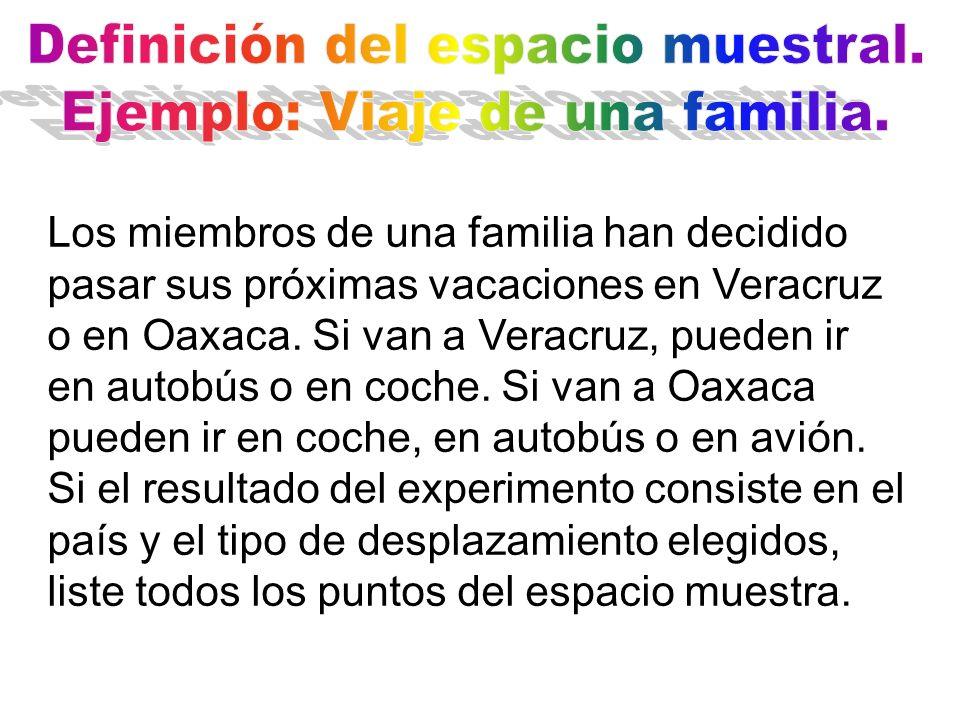 Los miembros de una familia han decidido pasar sus próximas vacaciones en Veracruz o en Oaxaca.