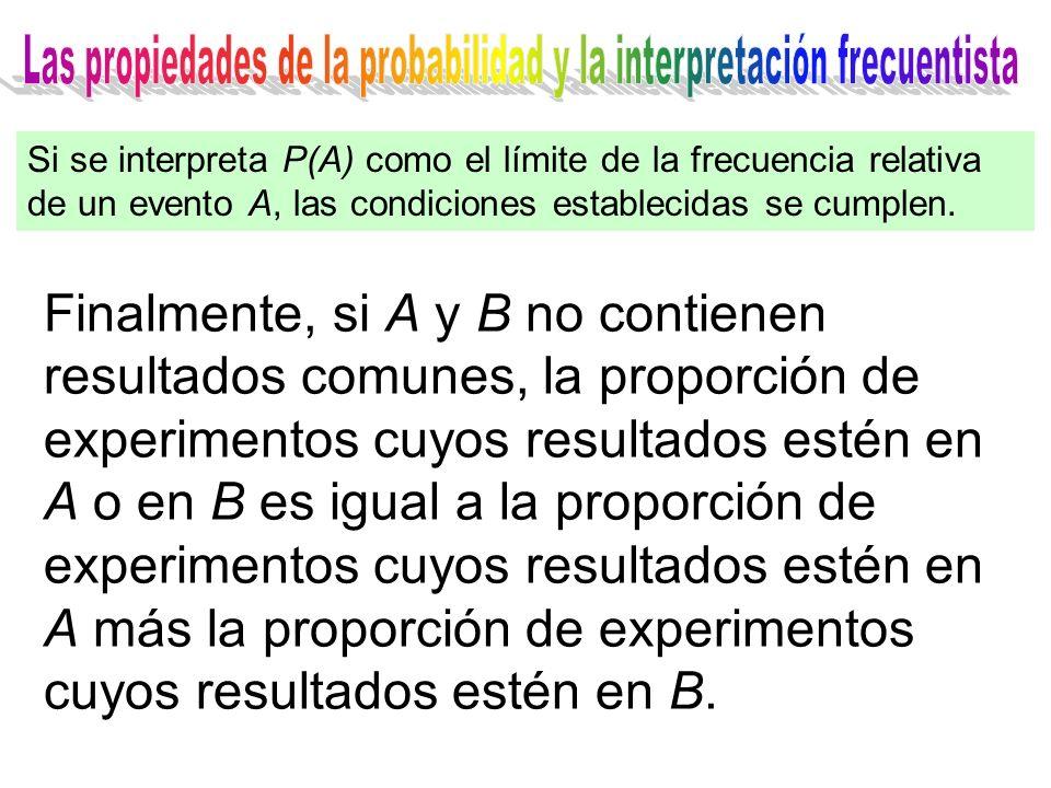 Finalmente, si A y B no contienen resultados comunes, la proporción de experimentos cuyos resultados estén en A o en B es igual a la proporción de experimentos cuyos resultados estén en A más la proporción de experimentos cuyos resultados estén en B.