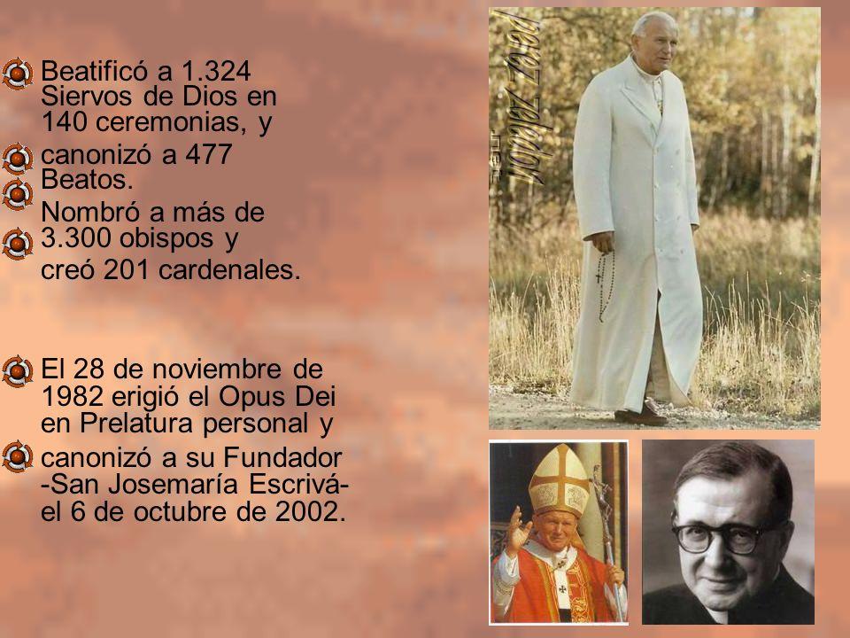 Beatificó a 1.324 Siervos de Dios en 140 ceremonias, y canonizó a 477 Beatos. Nombró a más de 3.300 obispos y creó 201 cardenales. El 28 de noviembre