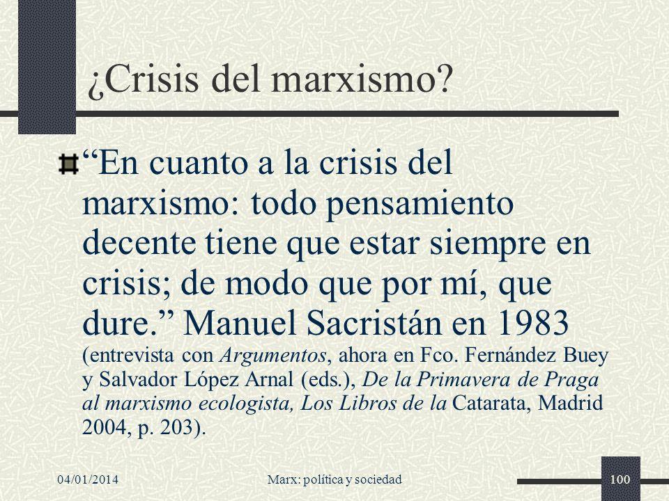 04/01/2014Marx: política y sociedad101 Vamos a los elementos de crítica.