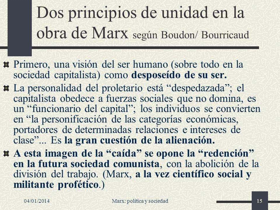 04/01/2014Marx: política y sociedad16 Las personas, ¿personificación de categorías económicas.