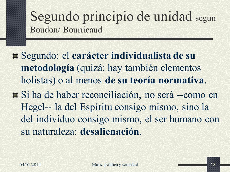04/01/2014Marx: política y sociedad19 Individualismo normativo Individualismo en sentido normativo (o ético): en última instancia sólo los individuos son moralmente importantes.