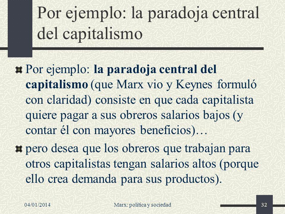 04/01/2014Marx: política y sociedad33 Deseos autocontradictorios Así que cada capitalista desea estar en una posición que --por razones puramente lógicas-- no todos pueden ocupar.