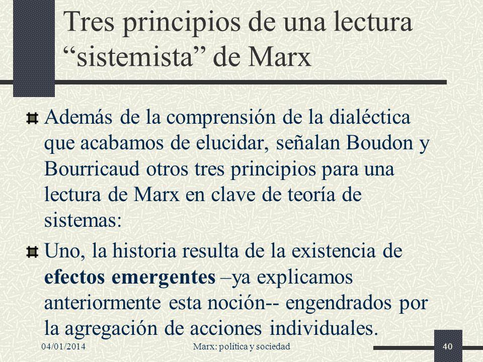 04/01/2014Marx: política y sociedad41 Dos, la aparición de efectos emergentes en un sistema modifica las condiciones de funcionamiento de ese sistema, y por tanto desencadena un proceso evolutivo.
