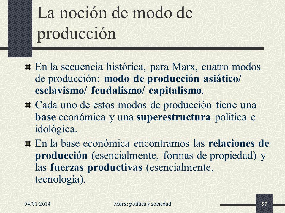 04/01/2014Marx: política y sociedad58 Explotación Una persona es explotada --en el sentido de Marx-- si realiza mayor trabajo del necesario para producir los bienes que consume.