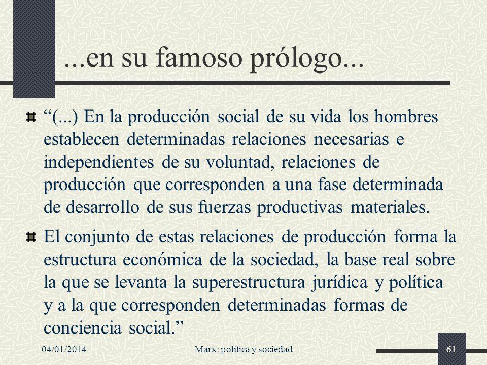 04/01/2014Marx: política y sociedad62...a la Contribución a la crítica de la economía política...