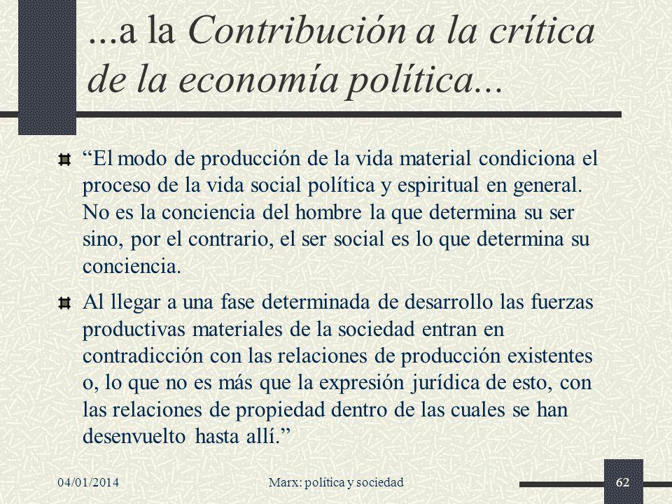 04/01/2014Marx: política y sociedad63...su obra de 1859 De formas de desarrollo de las fuerzas productivas, estas relaciones se convierten en trabas suyas, y se abre así una época de revolución social.