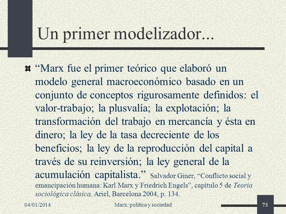 04/01/2014Marx: política y sociedad74...que abrió camino El modelo marxiano de producción capitalista sirvió de ejemplo para la concepción de Max Weber de los tipos ideales y a partir de ahí a toda la sociología modelizadora.