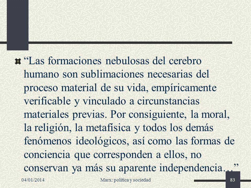 04/01/2014Marx: política y sociedad84 Se explora una idea fundamental para la sociología del conocimiento: la de relación causal entre estructura económico-política por un lado, y cultura, conocimiento, ideología y creencias por otro.