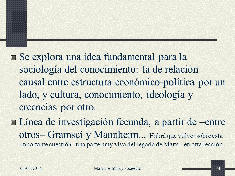 04/01/2014Marx: política y sociedad85 Concepción del socialismo Para Marx el socialismo implica básicamente dos cosas: 1.