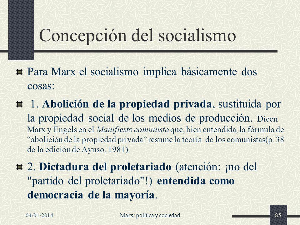 04/01/2014Marx: política y sociedad86 La dictadura del proletariado El capitalismo es una dictadura de la burguesía y el Estado un instrumento para ejercer el poder.