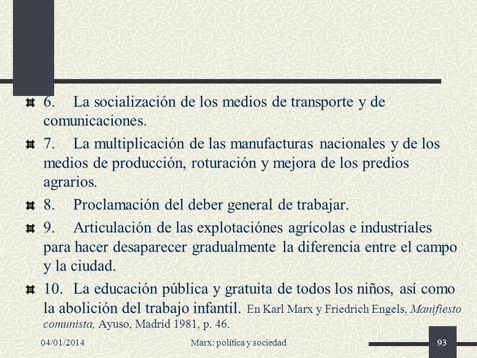 04/01/2014Marx: política y sociedad94 Síntesis de las ideas básicas del Manifiesto A) Afirmación de las luchas de clases como clave de la historia humana.