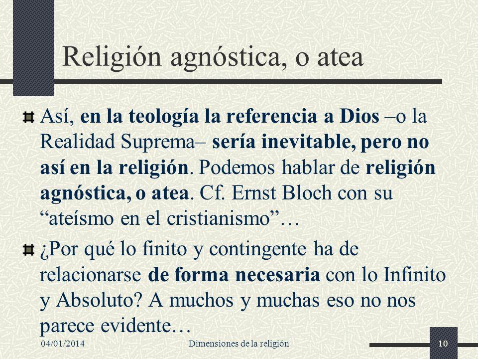 Religión agnóstica, o atea Así, en la teología la referencia a Dios –o la Realidad Suprema– sería inevitable, pero no así en la religión. Podemos habl